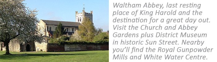 The historic church and abbey gardens at Waltham Abbey