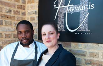 Head Chef Jahdre Hayward and his wife Amanda, owners of Haywards Restaurant, Epping.
