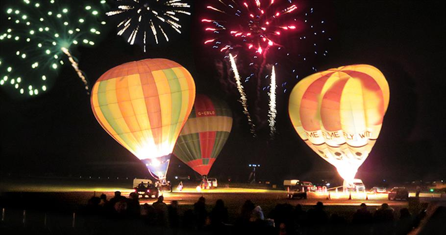 Night glow balloons and fireworks at North Weald Airfield