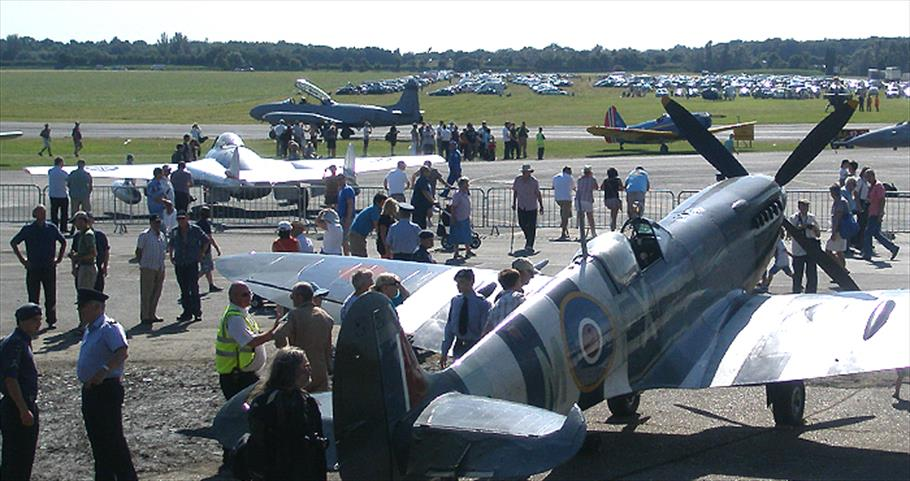Spitfire and other heritage warbirds at a North Weald Airfield display