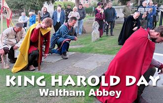 Re-enactors from English Heritage commemorating King Harold at Waltham Abbey.