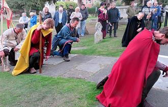 Re-enactors at Waltham Abbey Church portray King Harold on his 1066 journey from York to Hastings