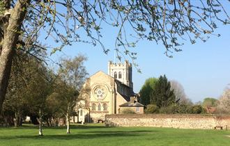 Waltham Abbey Church from the gardens