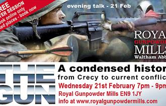 Free taster talk at the Royal Gunpowder Mills on the history of the gun.