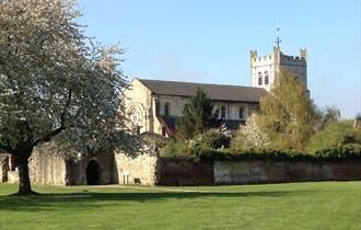 Waltham Abbey Church viewed from the Abbey Gardens.