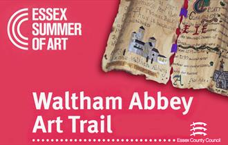 Art throughout Waltham Abbey in August - 'manuscript' painting by the children of Waltham Abbey