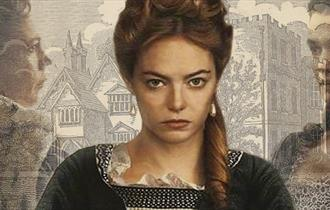 "Abigail Hill, to become Abigail Masham, as portrayed by Emma Stone in ""The Favourite"". In the background is Otes Hall, the real Abigail's future home."
